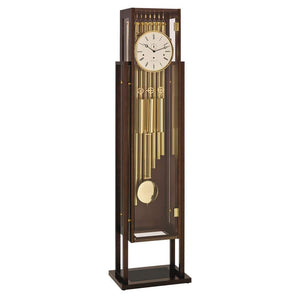 Contemporary Floor Clocks - Hermle ESSEX Grandfather Clock With Tubular Chimes 01219Q31171, Walnut