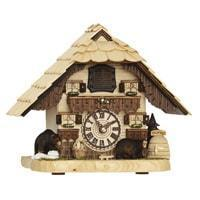 Hermle BENDORF Tabletop Quartz Cuckoo Clock with Two Carved Bears #66000 by Trenkle Uhren