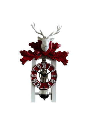 Cuckoo Clock - Hermle KURT Black Forest Clock In White And Red With Nickel Movement, 23032-740721