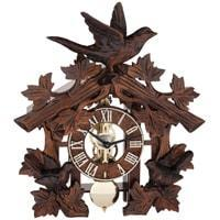 Hermle MANFRED Black Forest Table Clock with Carved Birds, # 23028-030721