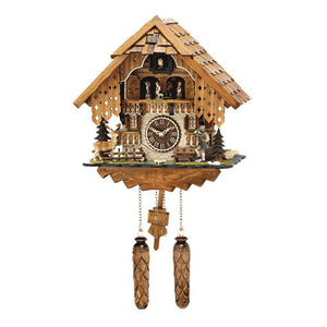 Cuckoo Clock - Hermle RHEINBERG Chalet Style Quartz Cuckoo Clock With Moving Children, Deer And A Hiker #64000 By Trenkle Uhren