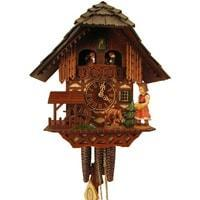 Romba FEEDING DEER Model 1385 1-Day Black Forest Cuckoo Clock, Carved and Painted