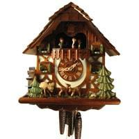 Rombach & Haas (Romba) JUMPING DEER Model 1386 1-Day Black Forest Cuckoo Clock with Animated Figures
