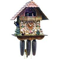 Cuckoo Clock - Romba WANDERER, Model 8355, 8-Day Black Forest Chalet Cuckoo Clock, Carved And Painted