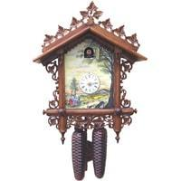Cuckoo Clock - Rombach & Haas Bahnhäusle 8-Day Black Forest Cuckoo Clock BY THE RIVER Painted By Connie Haas, Limited Edition, #8222
