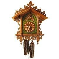 Rombach & Haas Bahnhäusle Black Forest Cuckoo Clock, 8-Day Half and Full Hour Call, Painted and Carved, #8221