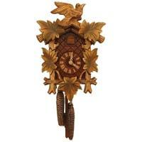 Cuckoo Clock - Rombach & Haas (Romba) BIRD AND LEAVES FOREST FINISH Model 1203 1-Day Black Forest Cuckoo Clock With Half And Full Hour Call, Lighter Linden Wood