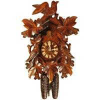 Rombach & Haas (Romba) BIRD AND LEAVES Model 8240 8-Day Black Forest Cuckoo Clock, Beautifully Carved