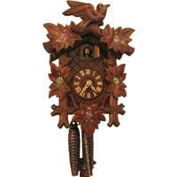 Cuckoo Clock - Rombach & Haas (Romba) BIRD, LEAVES AND  PAINTED FLOWERS Model 1202P 1-Day Black Forest Cuckoo Clock With Half And Full Hour Call In Linden Wood