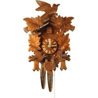 Cuckoo Clock - Rombach & Haas (Romba) FEEDING BIRDS Model 1205 1-Day Black Forest Cuckoo Clock With Half And Full Hour Call, Linden Wood
