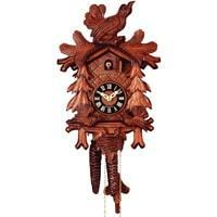Cuckoo Clock - Rombach & Haas (Romba) FEEDING BIRDS Model 1207 1-Day Black Forest Cuckoo Clock With Half And Full Hour Call, Linden Wood