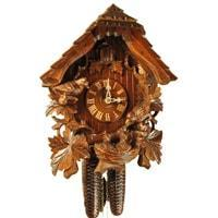 Cuckoo Clock - Rombach & Haas (Romba) FEEDING BIRDS Model 8207 8-Day Black Forest Cuckoo Clock With Half And Full Hour Call And Detailed Carvings