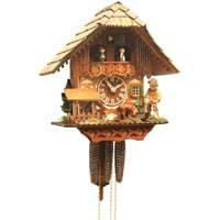 Rombach & Haas (Romba) FEEDING DEER Model 1385B 1-Day Black Forest Cuckoo Clock, Carved, Painted, Intricate and Charming