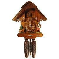 Rombach & Haas (Romba) HAPPY WANDERER Model 8205 8-Day Black Forest Cuckoo Clock, Beautifully Carved and Painted, Chalet Style