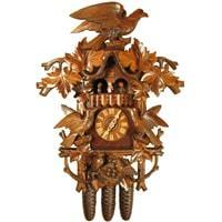 Rombach & Haas (Romba) HAWK AND BIRDS Model 8388, 8-Day Black Forest Cuckoo Clock with Music Box, Exquisite Carvings and Animated Figures