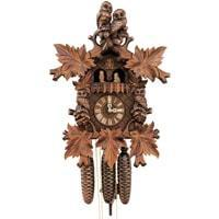 Cuckoo Clock - Rombach & Haas (Romba) HOOTING OWL Model 8360 Black Forest Cuckoo Clock, 8-Day, Spinning Owls