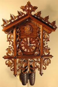 Rombach & Haas (Romba) LEAVES AND VINES BAHNHÅUSLE Black Forest Cuckoo Clock, Intricate Carvings, 8-Day Movement