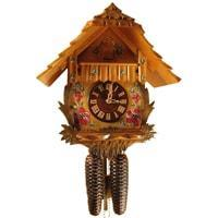 Rombach & Haas (Romba) Model 8210 FLOWERS 8-Day Black Forest Cuckoo Clocks with Painted Flowers and Half and Full Hour Call