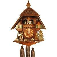 Rombach & Haas (Romba) WOODCHOPPER Model 8362, 8-Day Black Forest Cuckoo Clock, Chalet Style with Music Box and Dancers