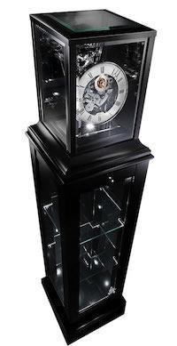 Floor Clock - Kieninger 1712-96-02 Limited 250 Curio Tourbillon Showcase Floor Clock With Triple Chimes, Pneumatic Lift, Nested Bell And LED Lights In Black