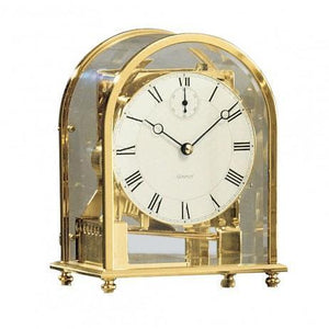Mantel / Mantle / Table Clock - Kieninger 1226-01-05 MELODIKA Modern Carriage Mantel Clock With Triple Chimes, Brass Case And White Dial