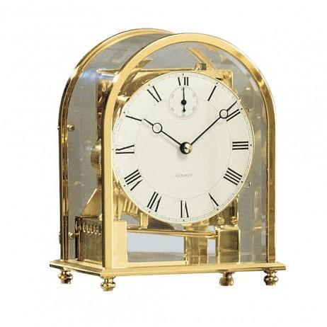 Kieninger 1226-01-05 Melodika Carriage Mantel Clock, Triple Chimes, Brass & White Dial