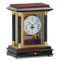 Mantel / Mantle / Table Clock - Kieninger 1246-82-02 ARTEMIS Classical Mantel Clock With Calendar And Moonphase In Burl Walnut
