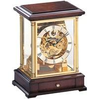Mantel / Mantle / Table Clock - Kieninger 1258-23-01 Mantel Clock, Triple Chimes On An 8-Rod Gong And An Open Face Dial In Solid Brass And Walnut