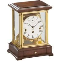 Mantel / Mantle / Table Clock - Kieninger 1258-41-02 Mantel Clock, Triple Chimes On An 8-Rod Gong In Solid Brass And Walnut
