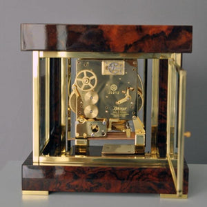 Mantel / Mantle / Table Clock - Kieninger 1266-82-01 500 Limited Edition TETRIKA DESIGN-CUBE Mantel Clock With Triple Chimes In Burl Walnut And Brass