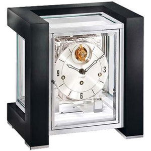 Mantel / Mantle / Table Clock - Kieninger 1266-82-04 TETRIKA TOURBILLON DESIGN-CUBE Limited 100 Edition, Burl Walnut Finish