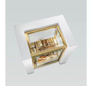 Mantel / Mantle / Table Clock - Kieninger 1266-95-01 500 Limited Edition TETRIKA DESIGN-CUBE With Triple Chime In White Piano Finish And Brass