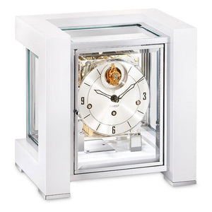 Mantel / Mantle / Table Clock - Kieninger 1266-95-03 500 Limited Edition TETRIKA DESIGN-CUBE With Triple Chimes In White Piano Finish