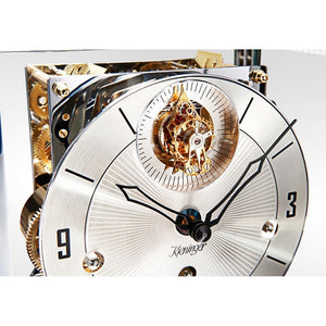 Mantel / Mantle / Table Clock - Kieninger 1266-95-04 Limited 100 Edition TETRIKA TOURBILLON DESIGN-CUBE, White Piano Finish