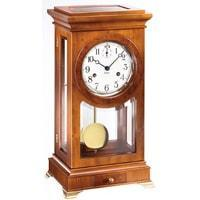 Mantel / Mantle / Table Clock - Kieninger 1276-46-01 DORIAN Pendulum Table Clock With Bim-Bam Strike Diamond Cut Double Bells In Cherry And Yew