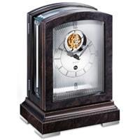 Mantel / Mantle / Table Clock - Kieninger 1277-96-01 PANORAMIKA Mantel Clock With Exclusive Tourbillon Movement, Walnut Burl