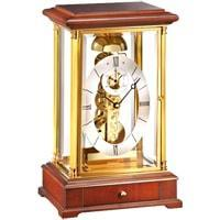 Mantel / Mantle / Table Clock - Kieninger 1278-41-01 DOMINO Skeleton Mantel Clock With Passing Bell Strike In Natural Cherry