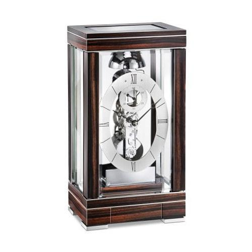 Mantel / Mantle / Table Clock - Kieninger 1282-57-01 DOMINO Skeleton Mantel Clock With Passing Bell Strike In Chrome And Ebony Wood