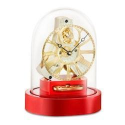 Mantel / Mantle / Table Clock - Kieninger 1302-77-02 AKKURANO Miniature Mantel Clock With Glass Dome And Red Lacquer Base