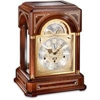 Mantel / Mantle / Table Clock - Kieninger 1705-22-01 Limited 500 BELCANTO Mantel Clock, With Mozart Chimes On 9 Diamond-Cut Bells In Walnut With Mother Of Pearl Inlay