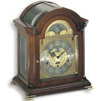 Mantel / Mantle / Table Clock - Kieninger 1708-23-01 HAFFNER Bracket Style Mantel Clock With Triple Chimes On 9 Diamond Cut Bells In Walnut Finish