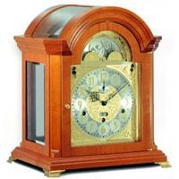 Mantel / Mantle / Table Clock - Kieninger 1708-41-01 HAFFNER Bracket Style Mantel Clock With Triple Chimes On 9 Diamond Cut Bells In Cherry Finish