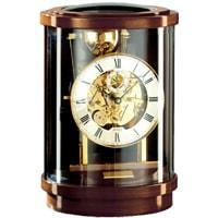 Mantel / Mantle / Table Clock - Kieninger 1711-23-01 AKUATA Round Design Mantel Clock With Triple Chimes On 9 Diamind-Cut Nested Bells In Walnut And Brass