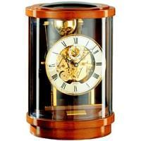 Kieninger Akuata 1711-41-01 Round Mantel Clock, Triple Chimes, 9 Bells, Walnut & Brass