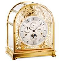 Kieninger MM 1709-02-02 KUPOLA 24 Carat Gold Plated Solid Brass Mantel Clock with Triple Chimes on 9 Bells, Numbered Edition