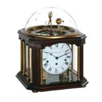 Mechanical Astronomical Clocks - Hermle TELLURIUM III ZODIAC Mechanical Table Clock 22948Q10352, Walnut & Brass