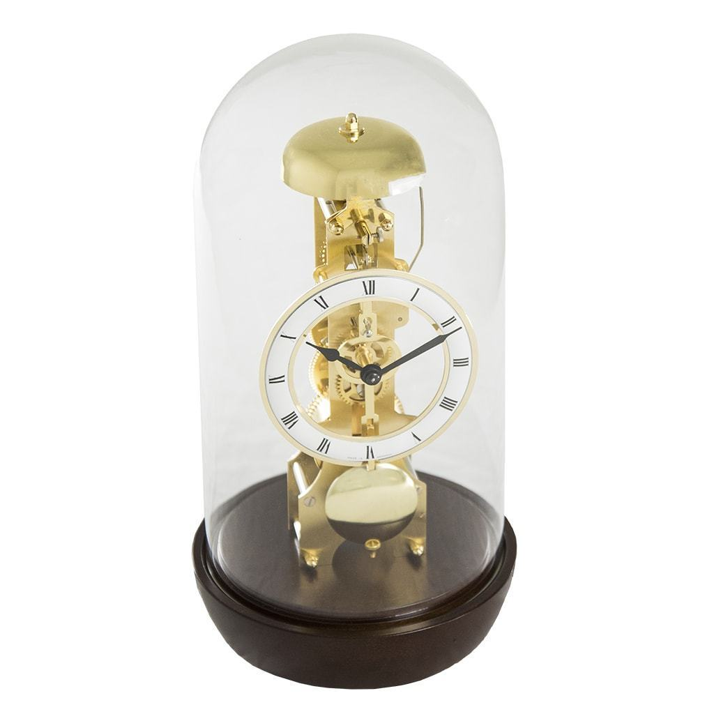 Modern Design Mantel Clocks - Hermle BRONX Mantel Clock With Glass Dome 23018030791, Walnut