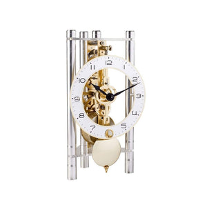Modern Design Mantel Clocks - Hermle LAKIN Mechanical Mantel Clock 23024X40721, Silver / Brass Pendulum