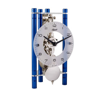 Modern Design Mantel Clocks - Hermle LAKIN Mechanical Mantel Clock 23025Q70721, Blue / Silver Pendulum