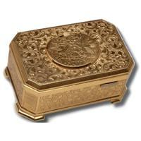 MMM Bird in A Box MU  214 201 00, Gold Etched, Exquisite and Rare Music Box with Automated Bird
